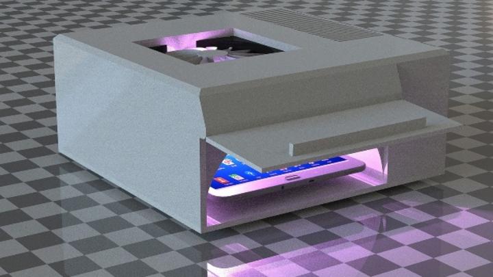 Prototyp des Handy-Desinfektionssystems.