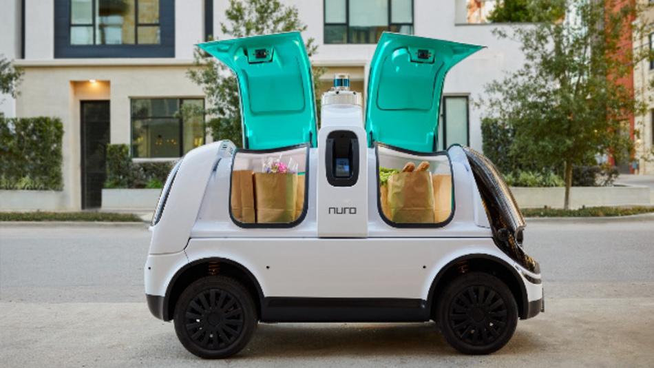 Das fahrerlose Lieferfahrzeug von Nuro. Die Nutzer können es sicher und einfach entladen.