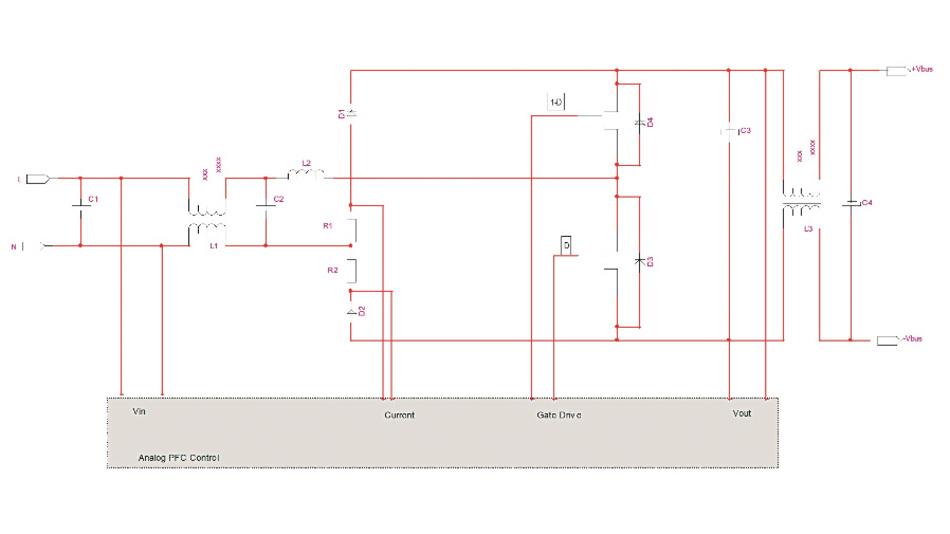 Bild 3: Totem-Pole-Eingangswandler mit Eingangs- und Ausgangsfilter, um Funkstörungen zu vermeiden.