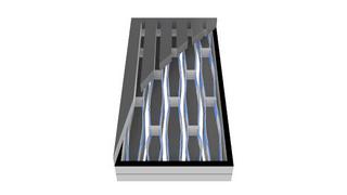 Blick in den MEMS-Chip eines elektrostatischen Schallwandlers.