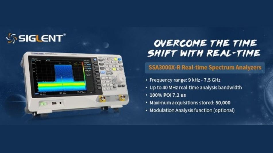 Die Spektrumanalysatoren der Serie SSA3000X-R von Siglent bieten eine Echtzeit-Analysebandbreite von bis zu 40 MHz und sind mit den Maximalfrequenzen von 5 GHz und 7,5 GHz verfügbar.