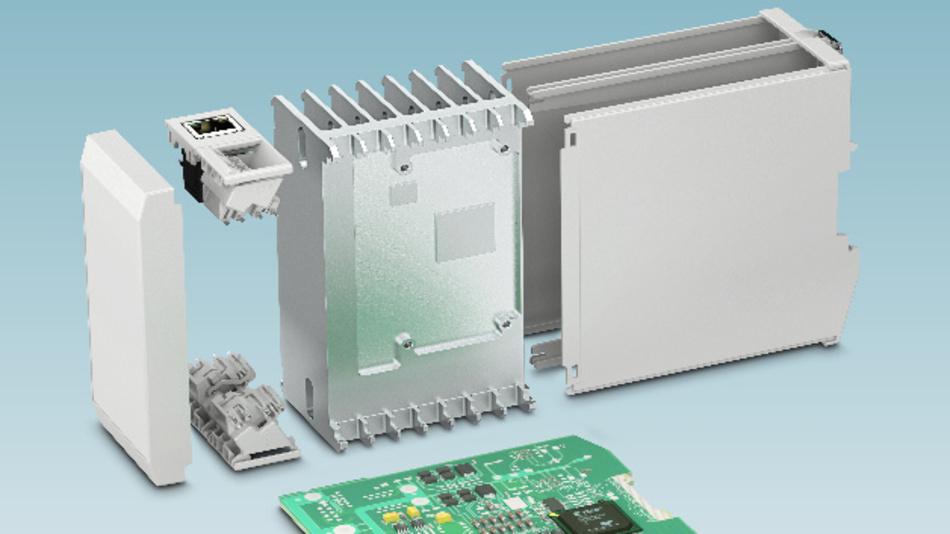 Tragschienen-Gehäuse: Kundenspezifisch angepasste Kühlkörper sorgen für eine zuverlässige Gehäuse-Entwärmung.