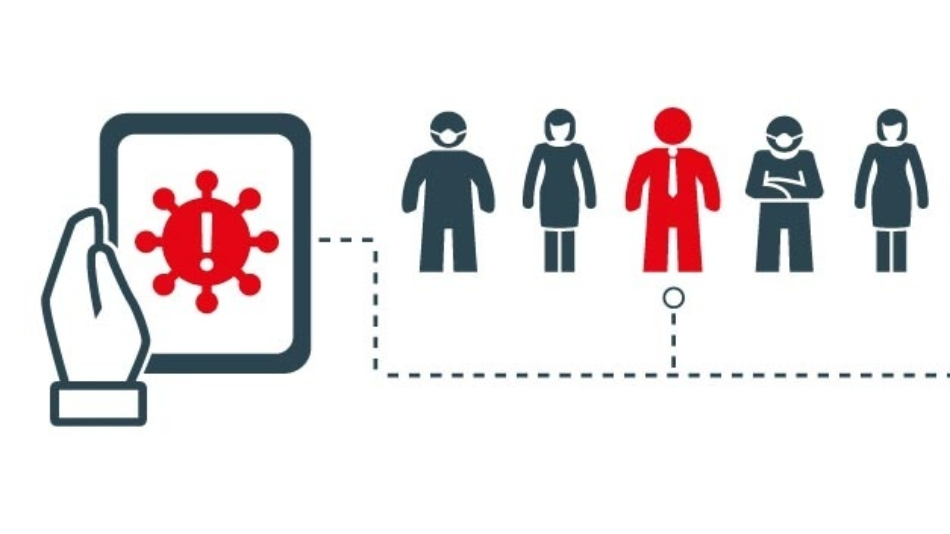 Das Bluetooth-Funkmodul im Smartphone erkennt, welche anderen Smartphones in der Nähe sind und kann so Kontakte verfolgen.