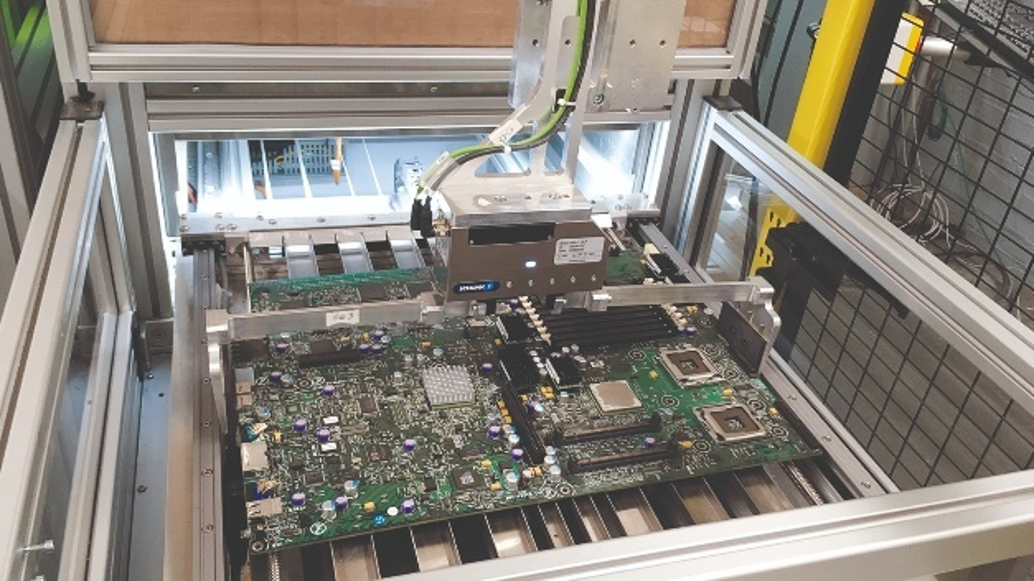 In diesem ADIR-Demonstrator werden die Bestandteile elektronischer Bauteile wie Handy- und Computerplatinen automatisiert identifiziert und entlötet.