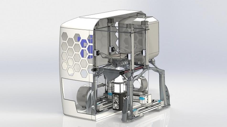 Der an der TU Graz entwickelte 3D-Drucker schmilzt Metallpulver mittels Hochleistungs-LED-Lichtquellen auf und verarbeitet es dann in additiver Fertigung zu Bauteilen.