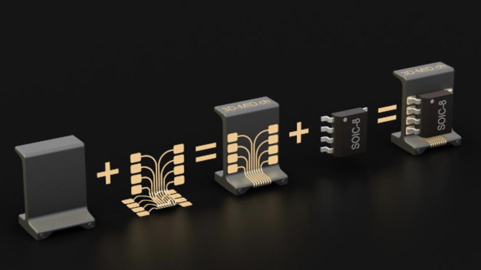 Standard-Bauteil aus Polymer plus individuelles Leiterbild – fertig ist ein MID-Bauteilträger um elektronische Komponenten senkrecht zur Leiterplatte zu platzieren.