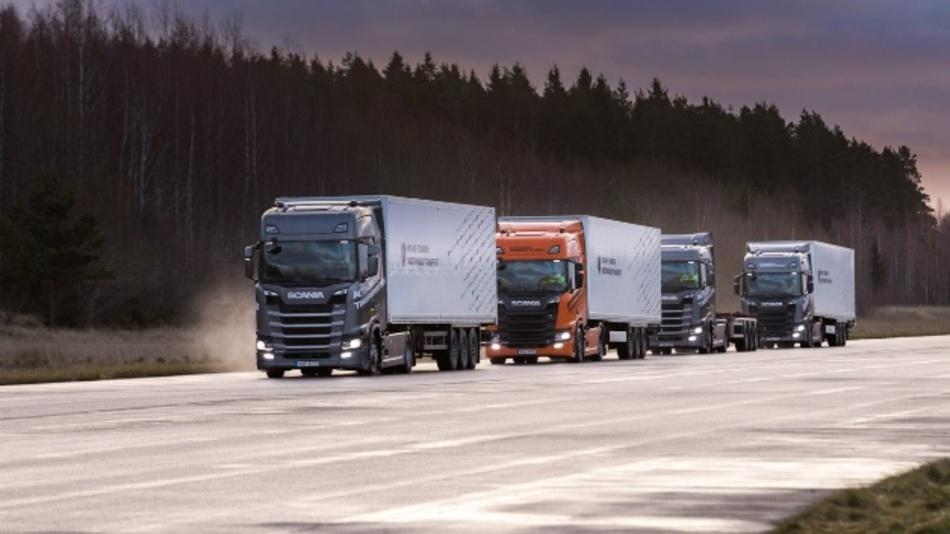Zukünftig können sich Nutzfahrzeuge in sogenannten Platoons zusammenschließen und in sehr geringem Abstand zueinander fahren