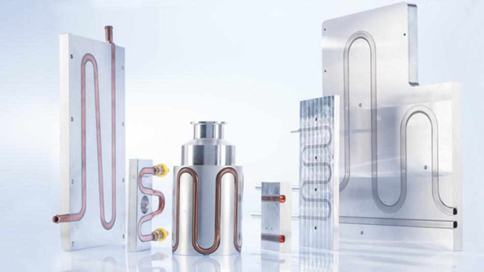 Bild 3: Flüssigkeitskühlkörper mit eingearbeiteten Kühlschlangen aus Kupfer, Aluminium und Edelstahl.