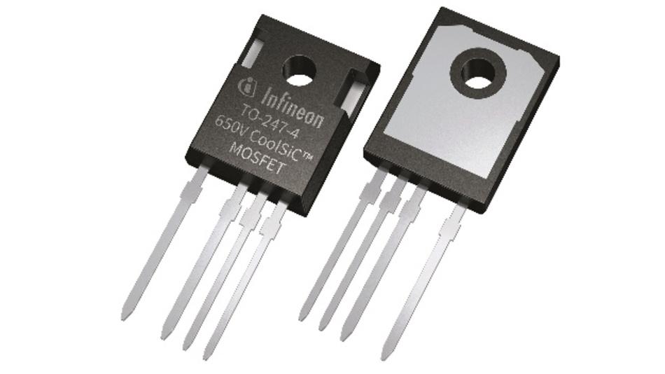 Die 650-V-Bausteine der CoolSiC-Familie haben einen R_DS(on) von 27 mΩ bis 107 mΩ. Sie sind sowohl im klassischen TO-247-Gehäuse mit drei Pins erhältlich als auch im TO-247 mit vier 4 Pins, das noch geringere Schaltverluste ermöglicht.