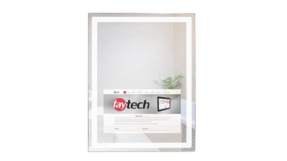 Der Smart Mirror von Faytech in der Front-Ansicht.
