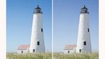 Links: ursprüngliches (nicht verrauschtes) Bild. Rechts: entrauschtes Bild