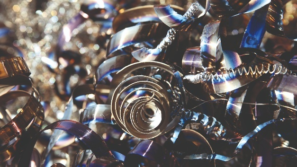 Metallspäne als Nebenprodukt bei der Bauteilfertigung.