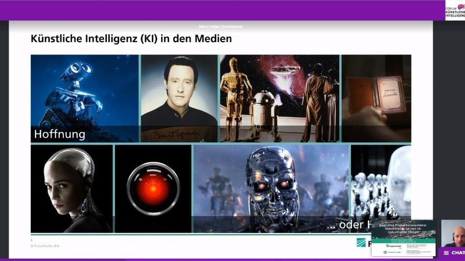 Prof. Dr. Marco Huber in seinem Vortrag: Unsere Meinung über Künstliche Intelligenz wird auch von den Medien geprägt.