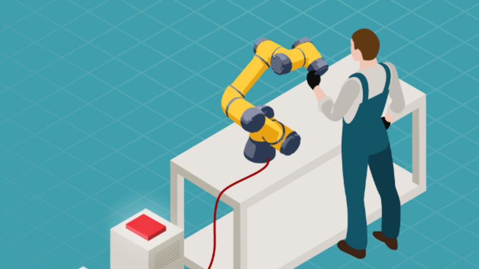Bild 1. Beispiel eines kollaborativen Roboters, der Seite an Seite mit einem Menschen arbeitet
