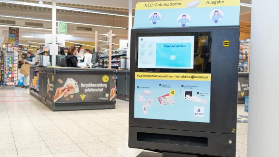 Der »Harting Prevent«: ein Verkaufsautomat für Mund-Nase-Masken, Desinfektionstücher und Einmalhandschuhe.