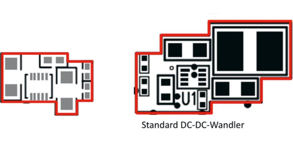 Bild 6. Größenvergleich von MAXM17552 uSLIC mit einem Standard-DC-DC-Wandler mit externer Spule.