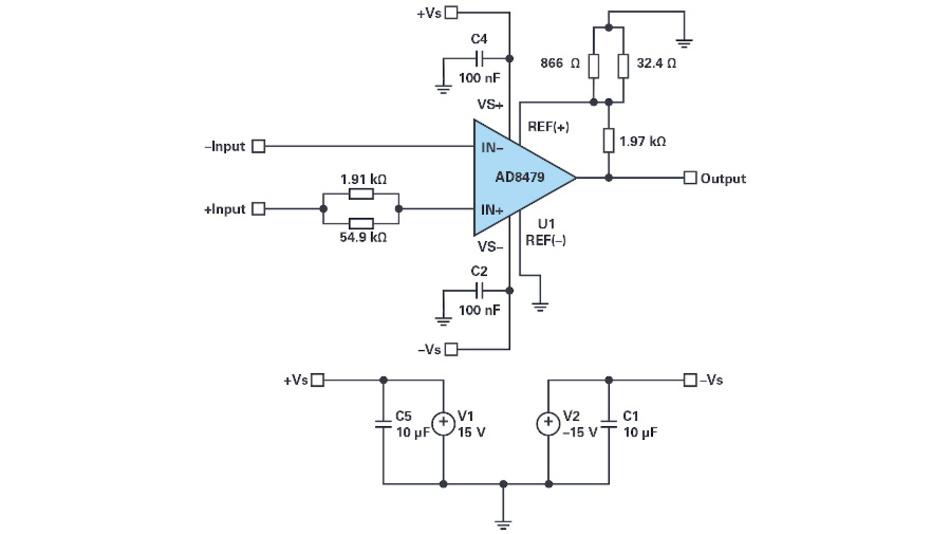Bild 6. Dimensionierte Differenzverstärkerschaltung mit dem AD8479, der eine feste Verstärkung von 1 hat, für eine Verstärkung V = 10. Gewählt wurde für R3 = 2050 Ω, die Widerstände R4 und R5 werden durch eine Parallelschaltung zweier Widerstände mit Standardwerten gebildet.