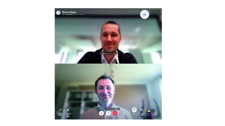 Bild 2: Interview in Zeiten von Corona: Kai Poggensee (oben) und Christoph Kutzera im Video-Chat.