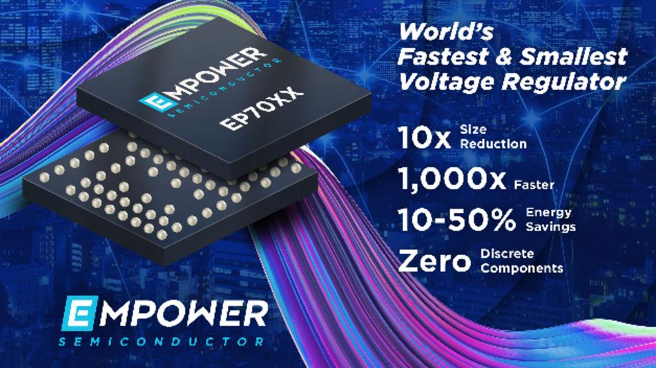 Im EP70xx ist nicht nur die Elektronik, sondern auch alle externen Komponenten samt Kondensatoren und Induktivitäten auf einem CMOS-Chip integriert.