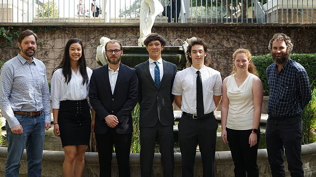 Dave Garret, VP of Hardware at Syntiant (far left), and Prof. David Harris (far right) with the Harvey Mudd College students who used the NDP101 processor for motion and gesture recognition.