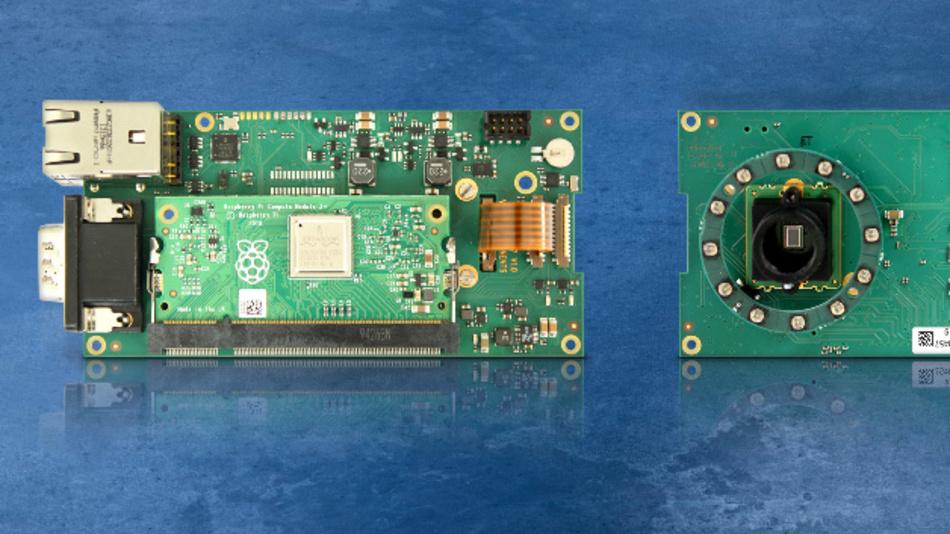 Schnell zur Embedded-Vision-Lösung: Die Platine zum Aufstecken eines Raspberry-Pi-Compute-Module enthält MIPI-Kamera, Objektivhalter und zahlreiche Schnittstellen.