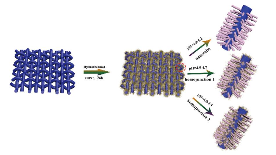 Schematische Darstellung des Wachstums von Nb2O5-basierten Materialien auf Kohlenstoffgewebe.