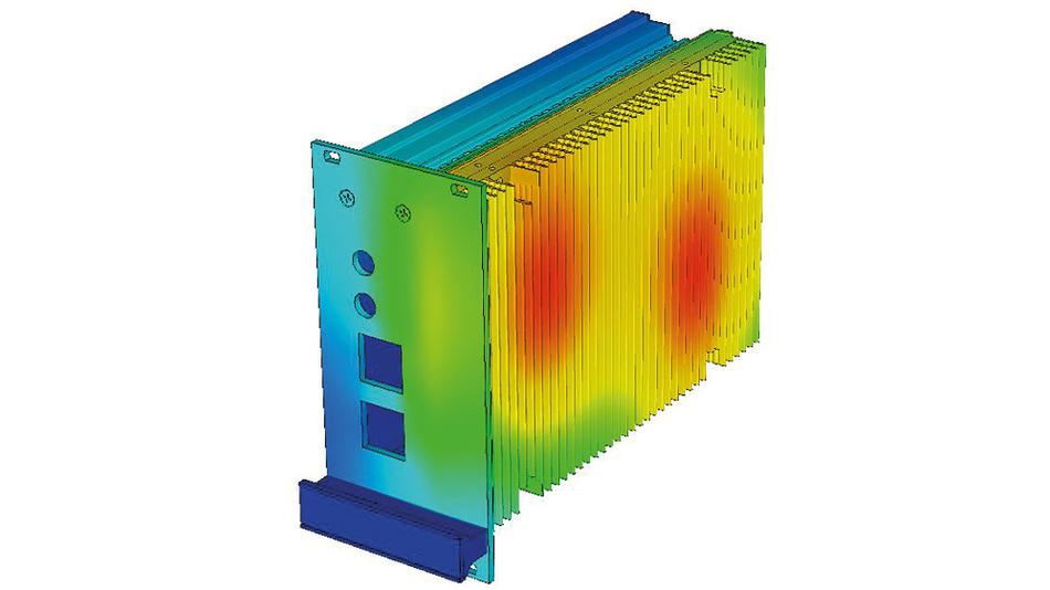 Bild 2. Wärmesimulation einer 19-Zoll-Wärmeableitkassette.