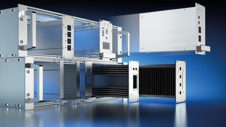 Verschiedene kundenspezifisch bearbeitete 19-Zoll-3HE-Kassetten, eingesetzt in 3HE-EMV-Baugruppenträger