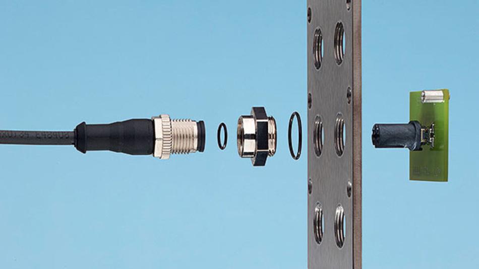 Bild 1. Erni hat ein Baukastensystem für M8/M12-Steckverbinder entwickelt, das besonders flexibel einsetzbar ist. Die Steckverbinder haben so robuste SMT-Anschlüsse, dass sie als Schüttgut verpackt und zugeführt werden können.