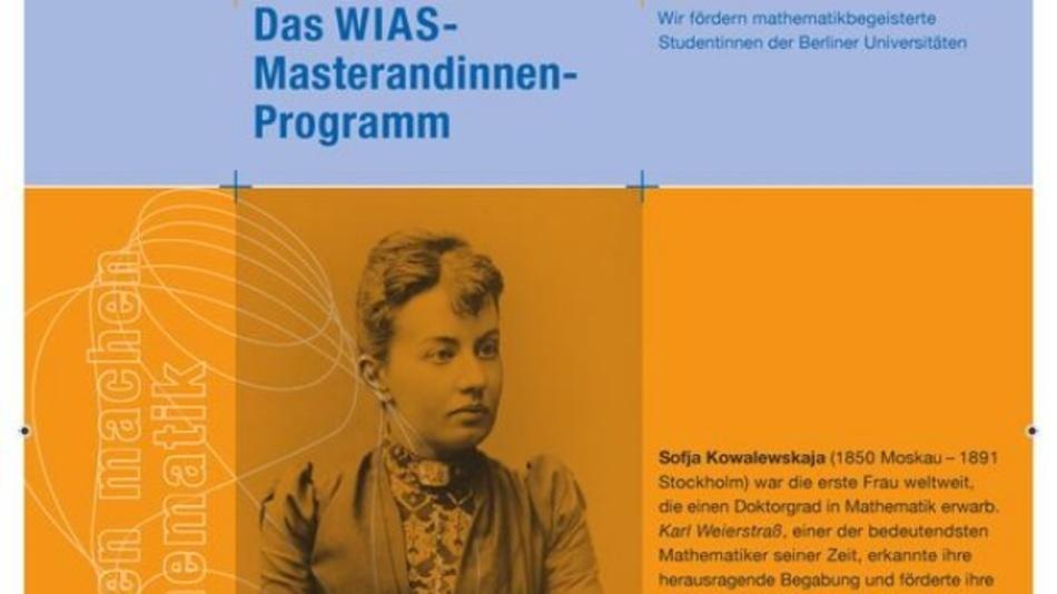 Mit einem Plakat wirbt das WIAS für sein neues Masterandinnen-Programm in Mathematik.