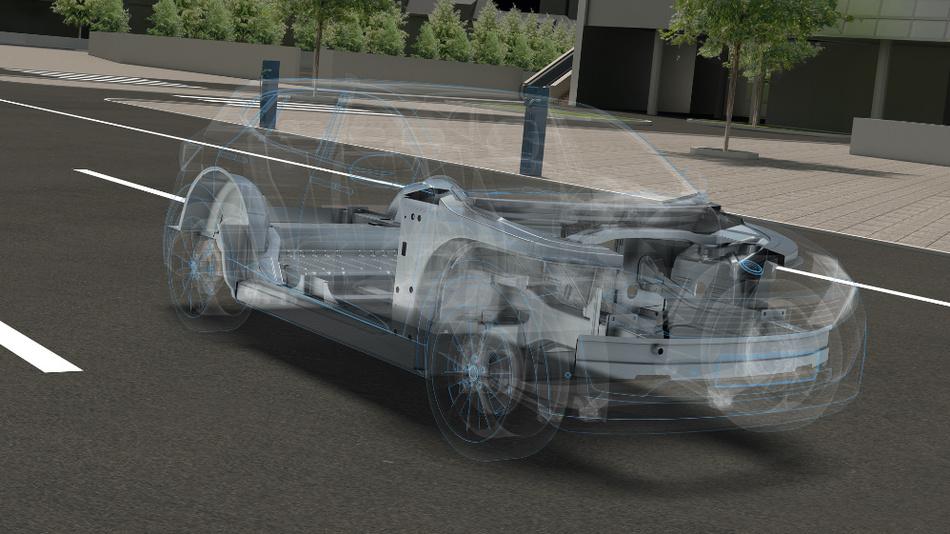Der neuartige Hybridtank aus Batterie- und Wasserstoffspeichern soll am Fahrzeugboden verbaut sein und längere Fahrten ohne Ladestopps ermöglichen.