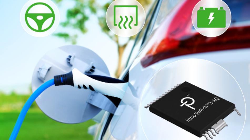 InnoSwitch3-AQ ist ein AEC-Q100-qualifiziertes Sperrwandler-Schalter-IC mit integriertem 750-V-MOSFET