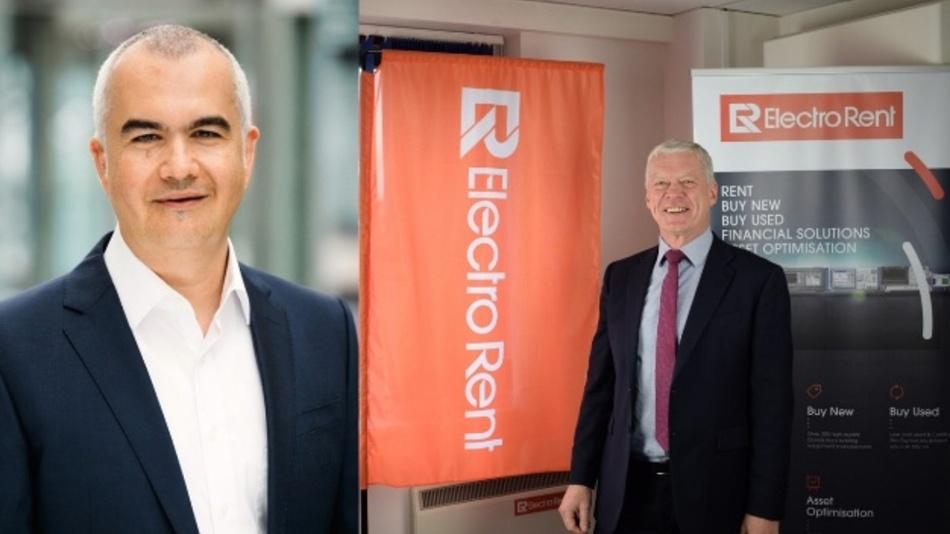 Patricio Duenas, Rohde & Schwarz (l) und Peter Collingwood, CEO Electro Rent Europe freuen sich über das Abkommen.