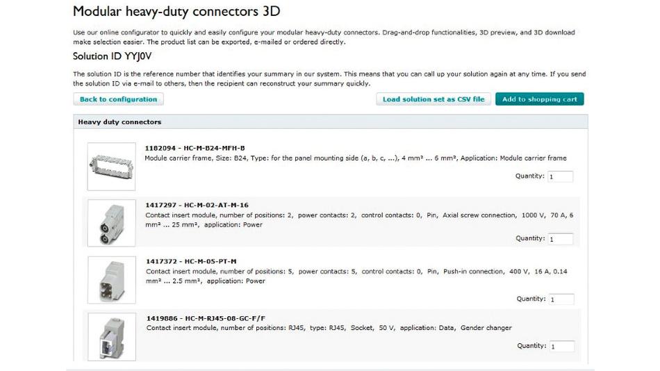 Bild 2. Nach der Konfigurierung: Alle Komponenten der Steckverbindung werden übersichtlich angezeigt – und können sofort bestellt, heruntergeladen oder unter einer eindeutigen Lösungs-ID gespeichert werden.