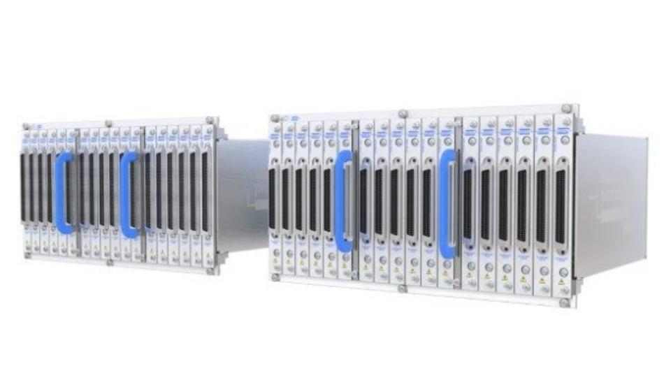 Auf bis zu 9216 Kreuzungspunkte lassen sich die neuen 12-Slot-PXI-Schaltmatrix-Modelle von Pickering ausbauen.