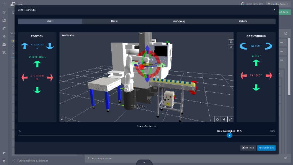 Der Digital Twin für Roboteranwendungen funktioniert nach dem Drag-and-Drop-Prinzip.