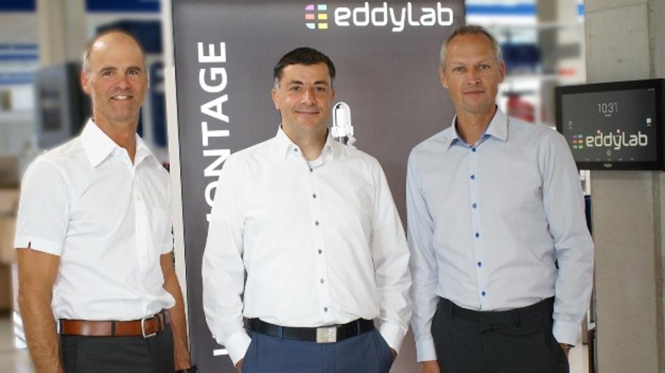 Payam Andreas Saghafi (links) und Christian Schrick (rechts) bilden gemeinsam mit Eddylab-Gründer Michael Reiter (Mitte) die neue Geschäftsführung der Eddylab GmbH.