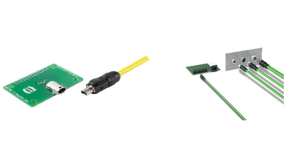 Für Single Pair Ethernet haben sowohl Harting (links) als auch Phoenix Contact (rechts) ein Steckgesicht definiert.