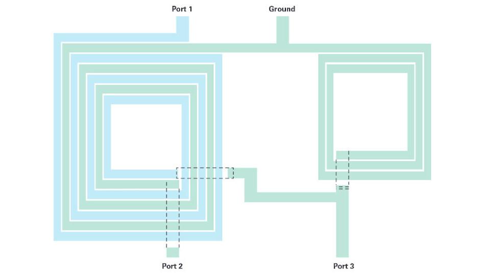Bild 1b. Beispiel einer planaren Anordnung der Induktivitäten eines Ruthroff-Baluns für die Integration in einen Chip.