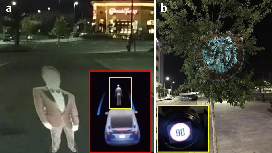 Bild 1. Wahrnehmungsherausforderung: Tesla identifiziert (a) eine reale Person und Mobileye 630 PRO; (b) ein echtes Straßenschild.