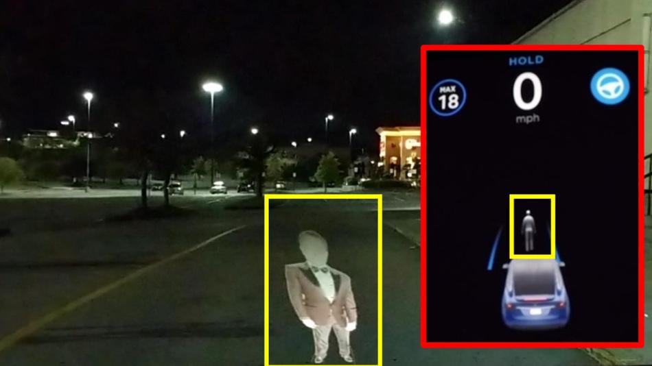 Bild 6. Teslas Autopilot identifiziert das Phantom als Person und beginnt nicht zu fahren.