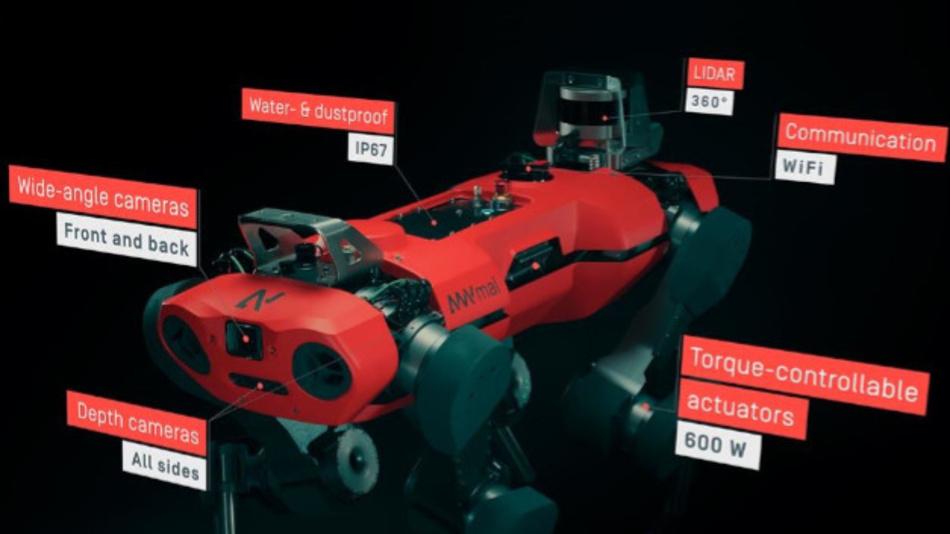 Bild 2. Neben seinem umfangreichen Sensorarray mit stereoskopischen Kameras für ein 360-Grad-Sichtfeld und LIDAR für die Umgebungskartierung kann der ANYmal C zusätzlich 10 kg Traglast für weitere Prüfsensoren aufnehmen.
