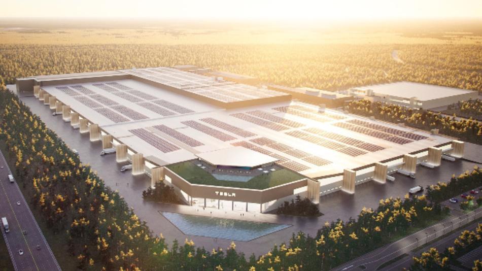 So soll die Gigafactory in Brandenburg bereits 2021 aussehen.