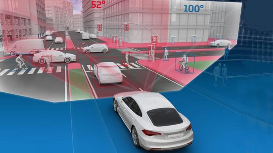 Das erweiterte Sichtfeld der S-Cam 4.8 hat vor allem in engen Kurven oder an Kreuzungen Vorteile: Wie das Bild zeigt, werden deutlich mehr Fahrzeuge identifiziert und vor allem ungeschützte Verkehrsteilnehmer wie Fußgänger und Radfahrer noch früher erkannt.