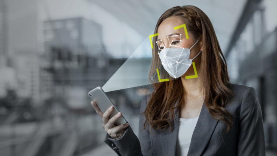 Mit Beam Profile Analysis von trinamiX lässt sich ein Smartphone auch mit einer Mund-Nasen-Maske per Gesichtserkennung sicher und zuverlässig entsperren.