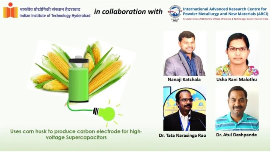 Forscher des Indian Institute of Technology in Hyderabad haben aus Maishülsen nun Material für Elektroden von Superkondensatoren hergestellt.