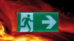 E-Paper Display in weiß/grün zur dynamischen Fluchtwegsteuerung
