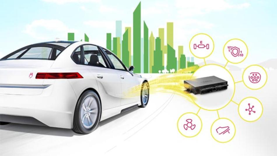 Das Antriebssteuergerät aktiviert die Elektromaschine; es koordiniert sämtliche Befehle, die per Fahrpedal ausgelöst werden; es ist eingebunden ins Lade- und Energiemanagement sowie in die Hochvoltkoordination des Systems; und es bildet die Schnittstelle zu den anderen Steuergeräten des Fahrzeugs.