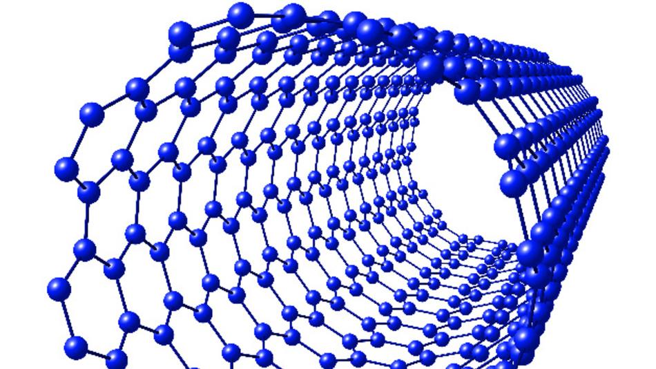 Schematische Darstellung eines Single-Wall-Kohlenstoff-Nanoröhrchens