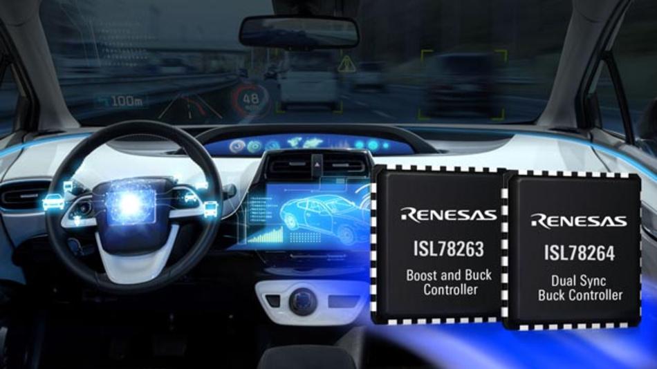 Der duale Synchron-Buck-Controller ISL78264 und der duale Synchron-Boost-/Buck-Controller ISL78263 von Renesas Electronics für Always-On-Automotive-Systeme sind ab sofort in Großserienmengen in 5 mm x 5 mm QFN-Gehäusen mit 32 Anschlüssen erhältlich.